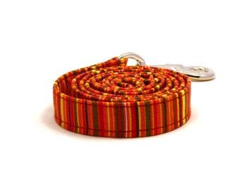 Colorful striped dog lead - Orange striped pet leash - Red, orange, green, yellow, black, white striped pet lead - Light My Fire dog leash