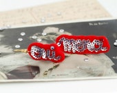 OUI MERCI French Silver Red Felt Earrings