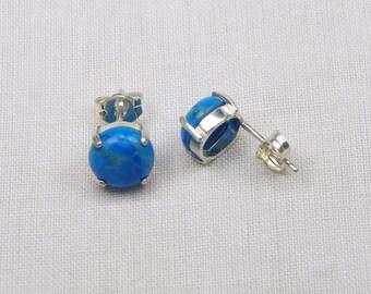 Turquoise Howlite Sterling Silver Earrings - 8MM - Stud - Cabochon - Gift - Genuine Gemstones - Sterling Setting