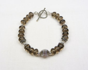 Smoky Quartz Bracelet - Beaded Jewelry -Genuine Gemstone - Gift For Her - Sterling Silver - Natural Stone - Quartz Bracelet