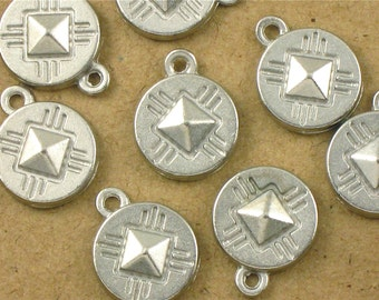 6 silver Southwestern charms. 11mm x 14mm (GT12).