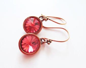 Padparadscha earrings. Dark peach earrings. Copper dangle earrings. Peach rivoli earrings. Peach crystal earrings. Light orange earrings.