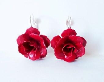 Red rose earrings.  Flower earrings.  Cherry red earrings.  Rose jewelry. Metal rose earrings. Flower jewelry. Blood red rose. Scarlet rose.