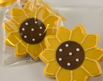 Sunflower Cookies - 12 Decorated Sugar Cookie Favors