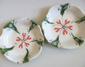ring holder,  jewelry bowl, floral candle tray,  White, Coral, Green Glaze, handmade pottery, In Stock