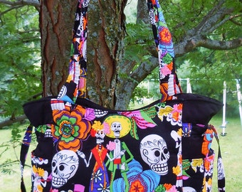 Day of the Dead Los Muertos Skulls Skeletons - Handbag, Purse, Tote, Shoulder Bag, Outside Pockets
