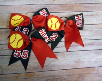 Red -and- Black- Softball Cheer bow-  Personalized- Cheer Bows-Team Gift-Softball Team