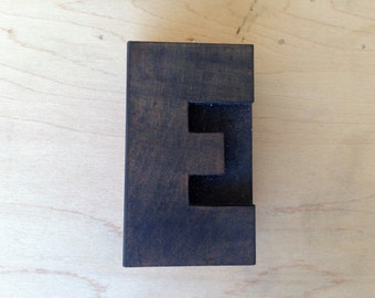 Antique Letterpress printers Wood Type - Letter E