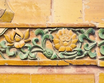 Architectural Detail Photography, Yellow Flowers, Mustard, Beijing, Forbidden Palace, Pretty Vintage Home Decor, Asian Decor, Travel Art
