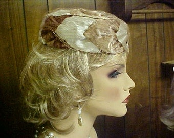 SALE.    Pill Box hat beige satin and velvet with short face veil- fits 22-23.5""