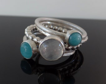 Stacking Rings, moonstone, amazonite, sterling silver rings