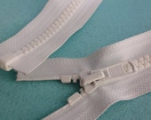 "19.5"" White YKK Molded Plastic Separating Zipper, 19.5 inch YKK Jacket Zipper, White Sports Zipper, Craft Zipper, White Zipper"