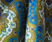 "Vintage Cotton Bark Cloth Yardage - 6 Yds - 47-1/2"" Width - 1950s Turquoise Paisley Print - Upholstery Curtain Chair Cushion - Like New VTG"