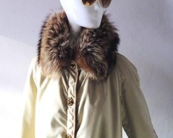 Vintage 1960s Bonnie Cashin Khaki Canvas & Leather Trim Fur Collar Coat - Size SM MED 2 4 6 - Classic Sills 60s Design