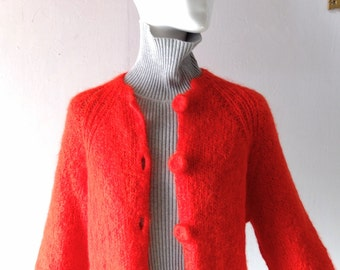 Vintage Hand Made Tomato Red Hand Knit Mohair Wool Cardigan - size SM MED - Yarn Covered Buttons - Classic Grandma Cozy Button Front Knit