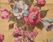 vintage barkcloth - 1940s - Pink Rose and Bows on yellow background