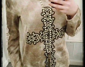 Cross Long Sleeve with Lace Accent on Sleeve