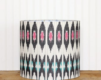 SALE - Ikat Drum Shade - Lamp Shade - Modern Drum Shade - Ikat Lamp Shade - Grey Pink Teal - Table Lamp Shade - Lamp Shade - Grey Lamp Shade