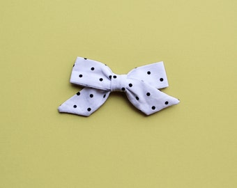 Sophie Hand-tied Black Polka Dot Simple Classic Fabric Bow Nylon Elastic or Alligator Clip