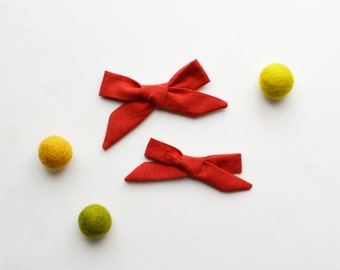 3 inch Mini Persimmon Red Hand-tied Simple Fabric Bow Nylon Elastic or Alligator Clip