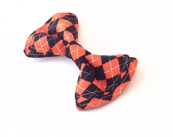 Boys Bow Tie - Halloween Orange Argyle Bow Tie - Bow Ties Toddler - Halloween Bow Tie - Orange Bow Tie - Argyle Bow Tie - Fall Bow Tie