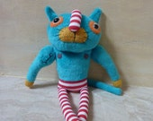 Cat muscleman :-)- funny blue plush toy, stuffed toy