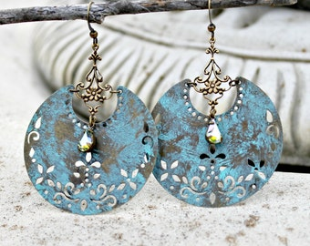 Large Bohemian Blue Chandelier Earrings - Crescent, Antique Brass, Vintage Jewel, Hoop