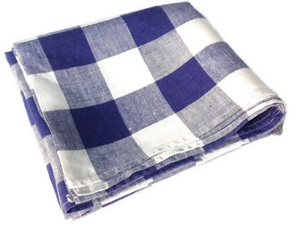 Linen Tablecloth Blue Checks by Hardy Craft Vintage