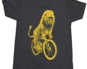 Mens T Shirt - Lion on a Bicycle - American Apparel Tri-Black XS, S, M, L, Xl, Xxl