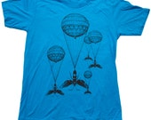 Steampunk Hot Air Balloon Insect Teal T-Shirt - American Apparel Teal - Available in XS, S, M, L, XL and XXL