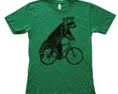 Raccoon on a Bicycle - Heather Kelly American Apparel Tee