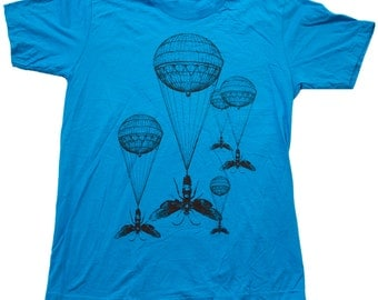 Steampunk Hot Air Balloon Insect Teal T-Shirt - Teal - Available in XS, S, M, L, Xl and Xxl