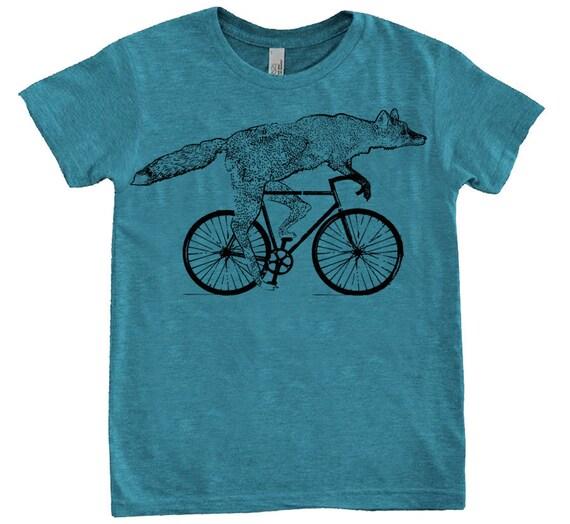 YOUTH Fox on a Bike Shirt - Sizes 8 10 12  - American Apparel Tri-Blend Tshirt - Teal Purple