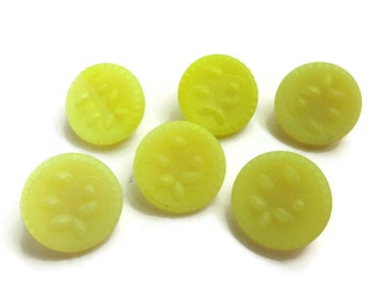 Lemon Glass Vintage Buttons - 6 Antique Yellow 1/2 inch 13mm Small for Jewelry Beads Sewing Knitting Baby Doll Clothes