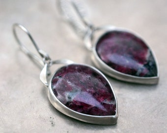 Rose Garden...Eudialyte earrings in sterling silver