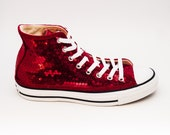 Sequin Customized Red Customized Converse Canvas Hi Top Sneakers Shoes