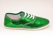 Sequin CVO Kelly Green Canvas Sneaker Tennis Plimsoll Shoes