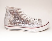 Sequin Starlight Tiny Sequin Silver Converse Canvas Hi Top Sneaker Tennis Shoes