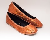 Ready 2 Ship | Size 8 Sequin Custom Orange Ballet Flats Slippers Shoes
