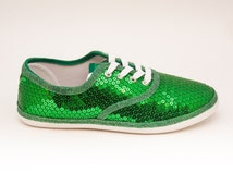 Sequin CVO Kelly Green Canvas Sneaker Tennis Plimsoll Shoes