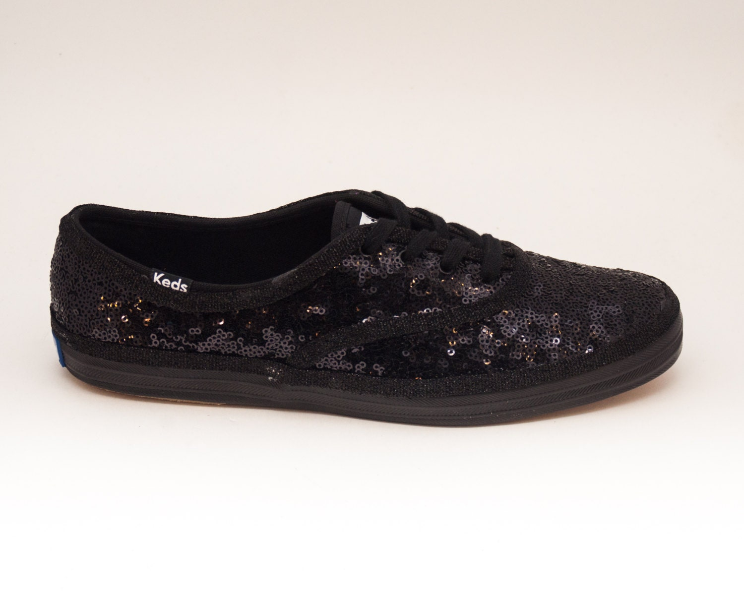 sequin all black keds sneaker canvas tennis shoes by