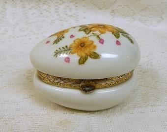 Vintage Lefton Egg Trinket Box With HingedTop   White China  Floral Design