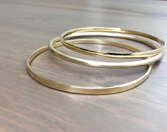 Stackable Bronze Bangles - Bronze Bangle Bracelet - Simple Bracelet - Minimalist Bracelet - Thick Bangles Combo with Square and Round Bronze