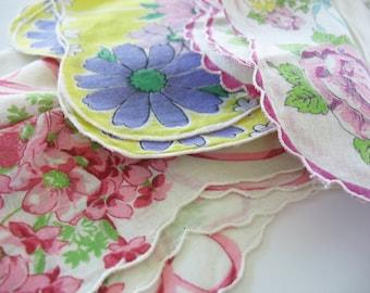 Vintage Handkerchiefs Hankies 3 Piece Lot Floral Scalloped Edge Sharp Colors Crafts