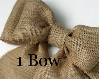 Burlap Pew Bows (1) Natural Burlap Large Double Bow Set Rustic Country Chic Handmade Wedding Decor Chair Bow