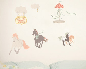 Fabric Wall Decal - Pretty Horses (reusable) NO PVC
