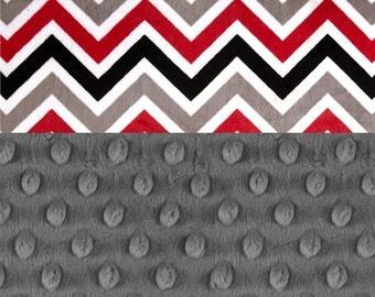 60 x 70 Minky Adult Blanket,  Personalized Blanket Red Black & Gray Chevron Throw - Twin Size / Chevron Blanket / Minky Throw