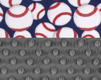 Minky Baby Blanket,  Personalized Baseball Grey Blue Stroller