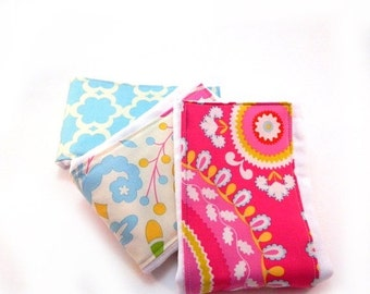 SALE Girl Burp Cloth set of 3 - Pink Blue Yellow Cream  Floral Diaper Burp Cloth