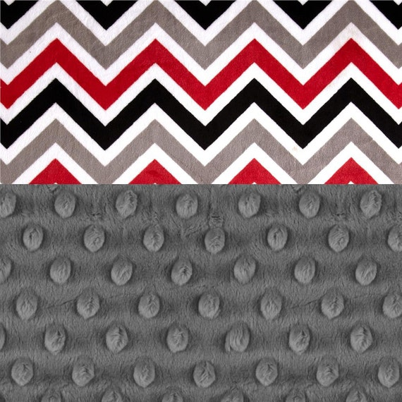 Minky Adult Blanket, Personalized Blanket Red Black Gray Chevron Throw, Twin Blanket, Chevron Blanket, Minky Throw Blanket Personalized Gift